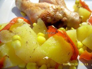 friptura de pui cu legume