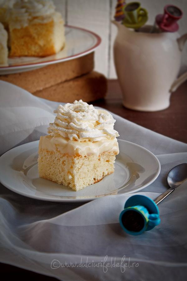 Prajitura cu crema de vanilie si ananas