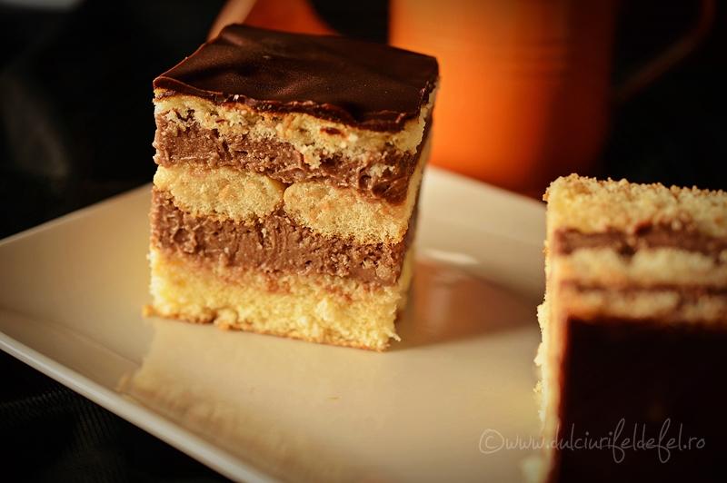 Prajitura cu ciocolata si piscoturi