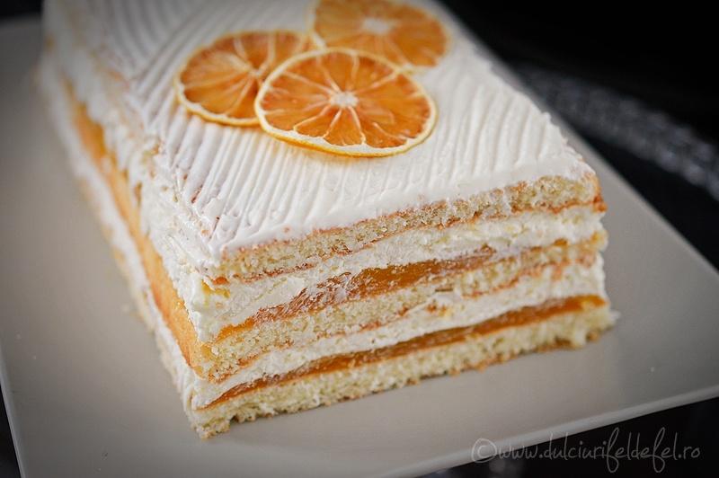 Prajitura cu iaurt si jeleu de portocale